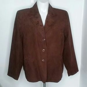 CATO Brown faux suede jacket embroidery size 22 W